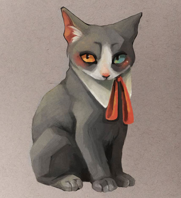 cat with red scarf art