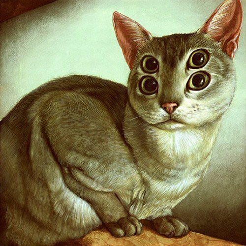cat art with four eyes