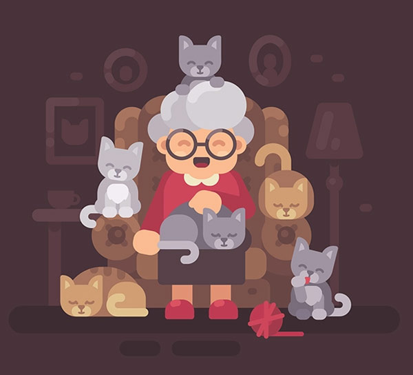 graphic image of grandmother with cats