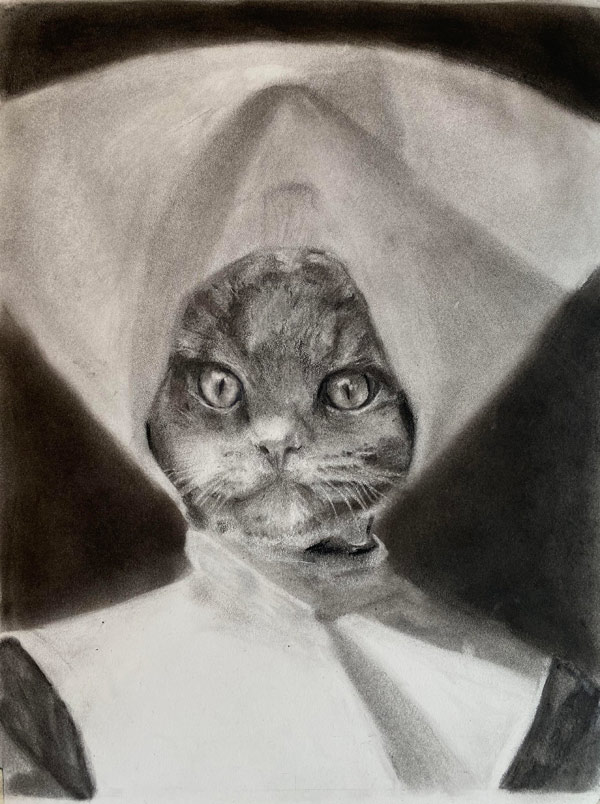 nun cat drawing art