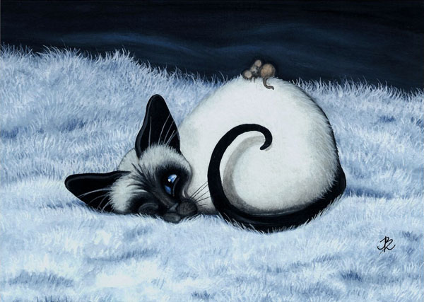 siamese cat with mouse art