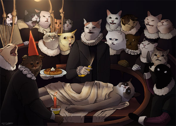 anatomy lesson with cats art