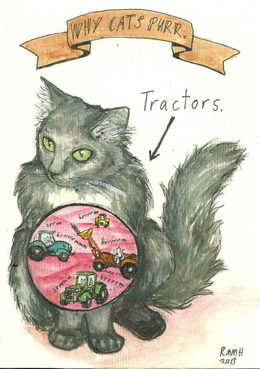 cats purr because they are filled with tiny tractors comic