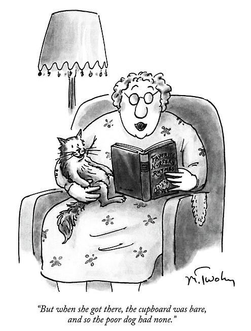 woman reads stories to cat comic
