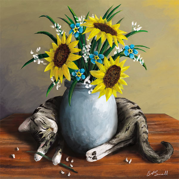 painting cat with sunflowers